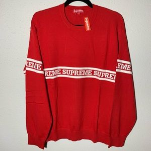 SUPREME Mens Large Red White Logo Stripe Knit Top